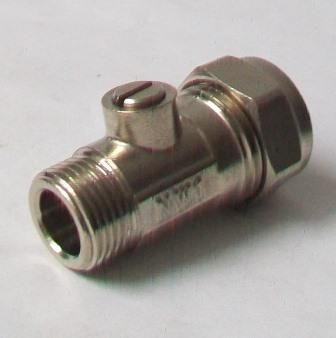 """15mm x 1/2"""" Flat-Faced Chrome Compression Isolating Valve"""