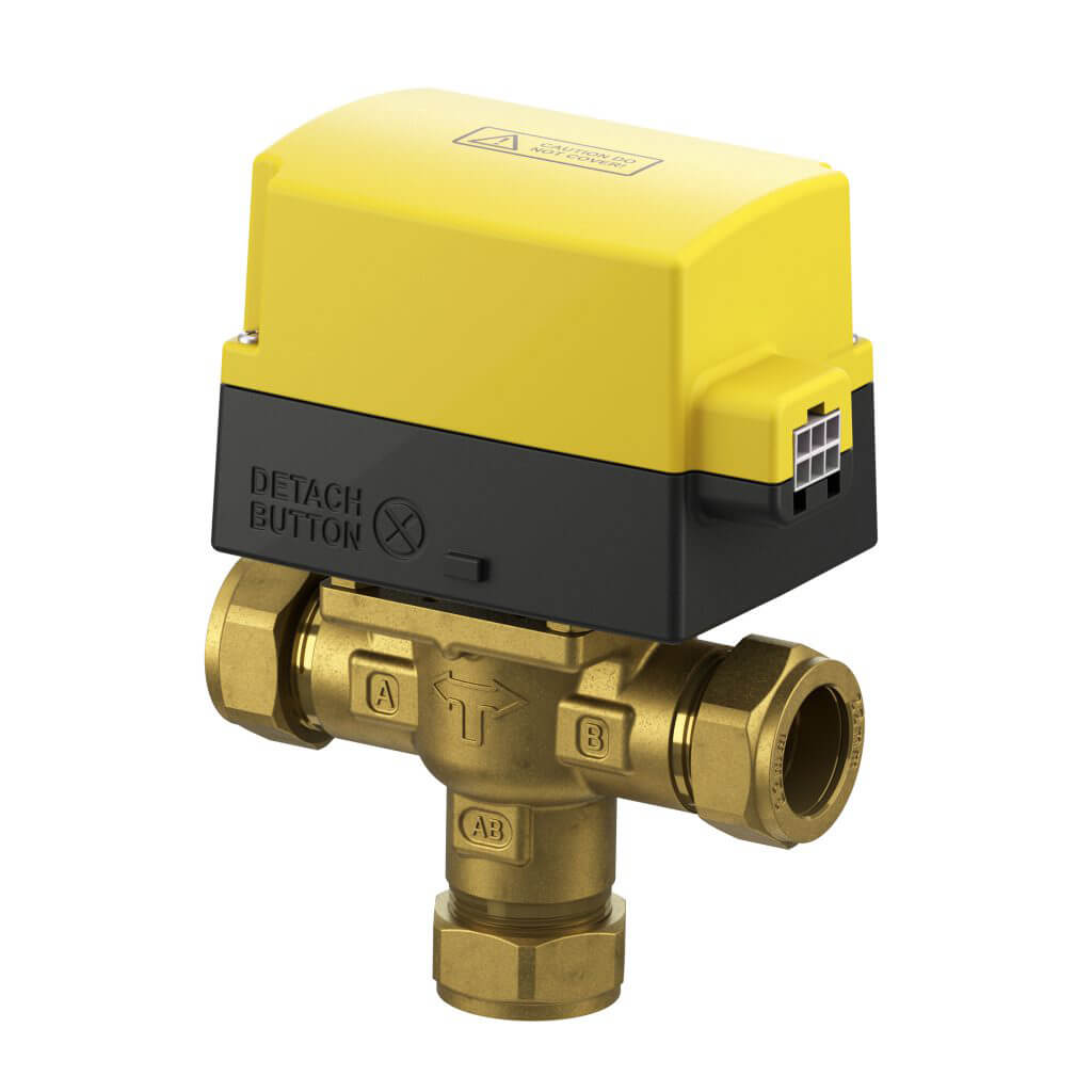 EPH 3 port 22mm Detachable Mid Position/Diverter Compression Motorised Valve (230Vac)