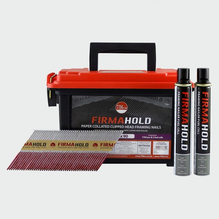 FirmaHold 90 x 3.1mm Galvanised 34' Nails - Ammo Case w/ 1760 Nails & 2 Fuel Cells