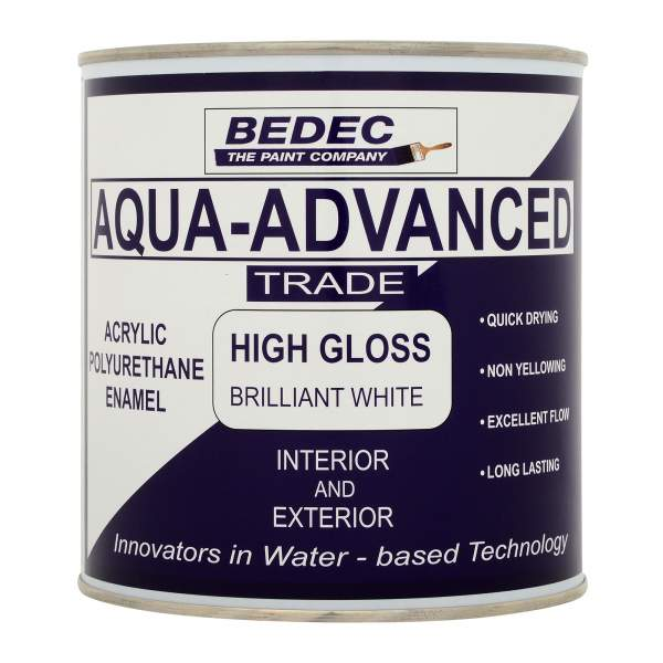 Bedec Aqua Advanced (Interior & Exterior) - Acrylic High Gloss - 1L - Brilliant White