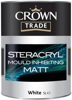 Crown Trade Stercryl Mould Inhibiting Matt Emulsion - Brilliant White - 2.5L